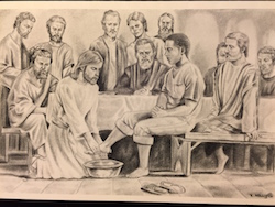 Jesus washing the foot of a black man while the disciples look on.