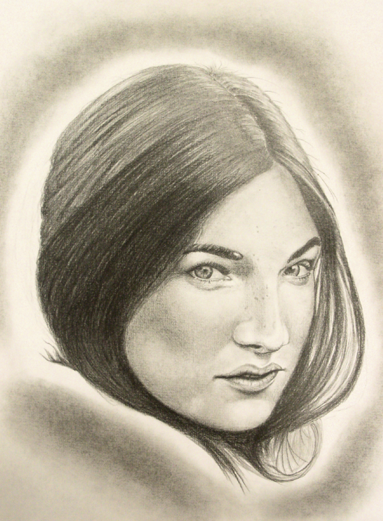 Inmate sketch of pretty asian woman.