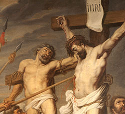 Artwork of Jesus on the cross, and Dismas next to him. Jesus has a spear in his side, and more spearheads threaten.