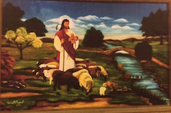 Painting of Jesus in a pastoral setting holding a crook and guiding a flock of sheep.