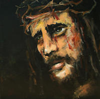 Painting of Jesus wearing a crown of thorns and with blood dribbling down his cheeks.