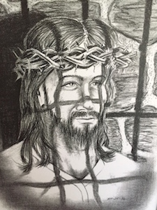 Sketch of Jesus. Black and white.