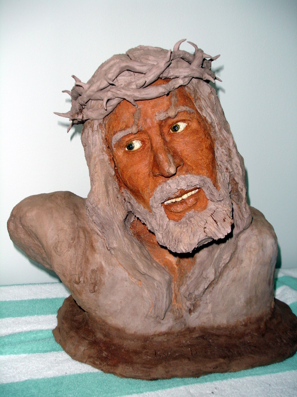 Sculpture of Jesus's head, created by an inmate in the art program.