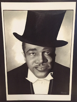 Black man in a tuxedo and top-hat.